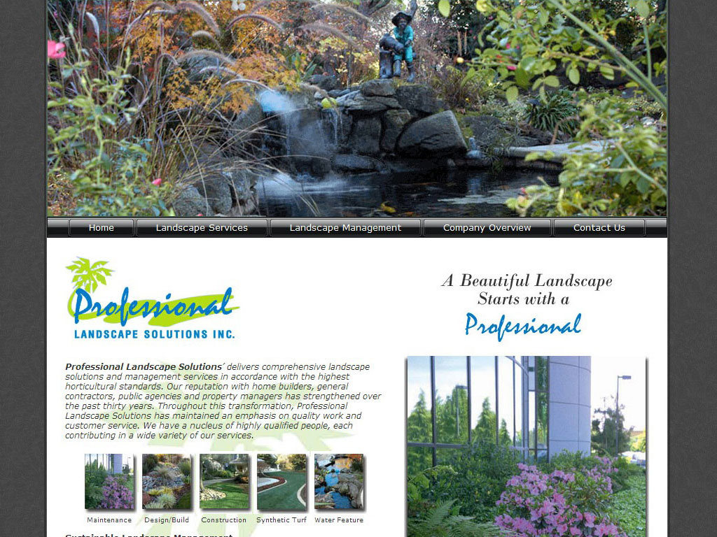 Landscaping company website for Professional landscape